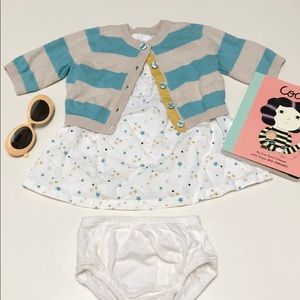 Cherokee | Star Dress + Sweater + Bloomer Set | NB